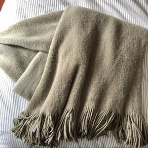 WEST ELM light ombre blanket throw w/ fringe